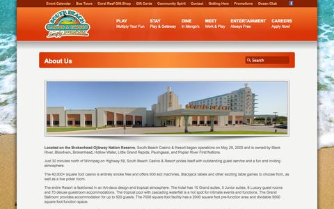 Screenshot of About Page southbeachcasino.ca - About Us «  South Beach Casino and Resort - captured Sept. 30, 2014