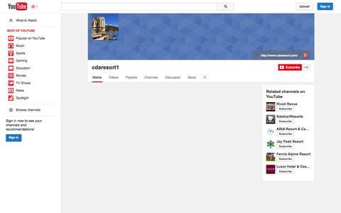 Screenshot of YouTube Page youtube.com - cdaresort1  - YouTube - captured Oct. 23, 2014