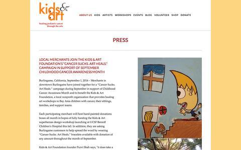Screenshot of Press Page kidsandart.org - Press — Kids and Art Foundation - captured Nov. 27, 2016