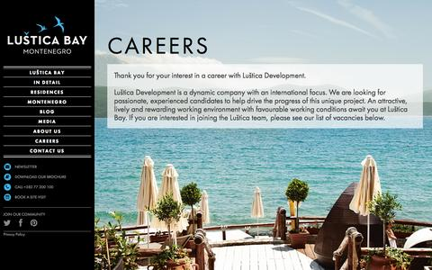 Screenshot of Jobs Page lusticabay.com - Careers | Luštica Bay - captured Oct. 28, 2014