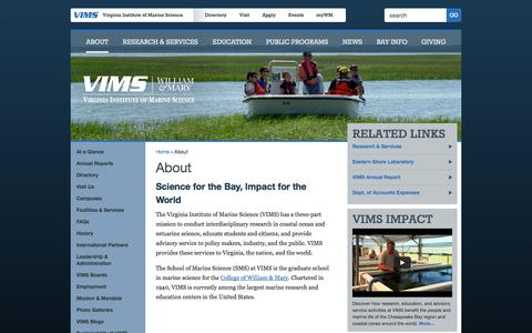 Screenshot of About Page vims.edu - Virginia Institute of Marine Science                          -About - captured Oct. 26, 2014