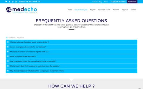 Screenshot of FAQ Page medecho.com - FAQ - Medecho | Medical Recruitment Specialists - captured Oct. 17, 2018