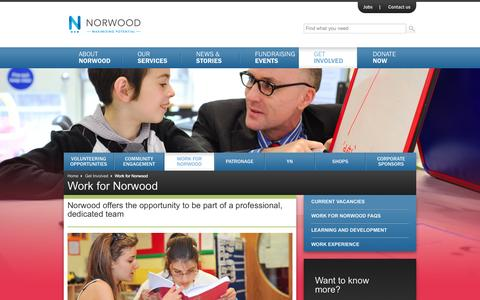 Screenshot of Jobs Page norwood.org.uk - Work for Norwood - captured Sept. 30, 2014