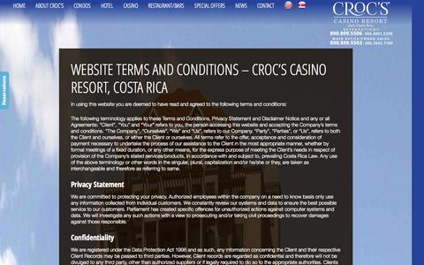 Screenshot of Terms Page crocscasinoresort.com - Website Terms and Conditions - Croc's Casino Resort, Costa Rica | CrocsCasinoResort.com - captured Sept. 30, 2014