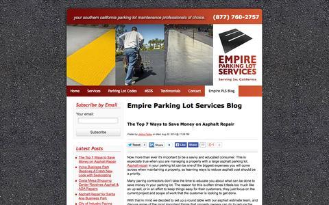 Screenshot of Blog empirepls.com - Empire Parking Lot Services Official Asphalt Paving & Repair Blog - captured Oct. 2, 2014