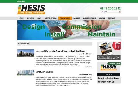 Screenshot of Case Studies Page hesis.co.uk - Case Studies | Hesis - Fire & Security - captured Dec. 5, 2015