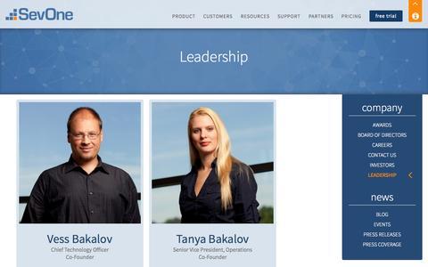 Screenshot of Team Page sevone.com - Leadership | SevOne - Network Performance Management & Monitoring for Your Entire Infrastructure - captured Nov. 3, 2014