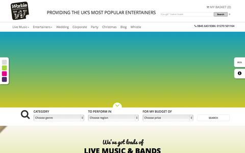 Screenshot of Home Page warble-entertainment.com - Warble Entertainment Agency | Hire Bands & Entertainers - captured Aug. 13, 2015