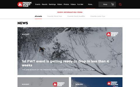 Screenshot of Press Page freerideworldtour.com - News | Freeride World Tour - captured Jan. 11, 2018