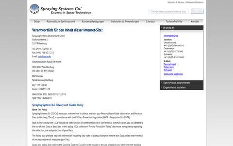 Screenshot of Privacy Page spray.com - Düsen, Düsensteuerung, Düsensysteme, Düsenherstellung, Sprühsysteme vom Experten in der Sprühtechnik, Spraying Systems Deutschland   Düsen   Duesen   Duese   Düse - Spraying Systems Co - captured Oct. 29, 2018