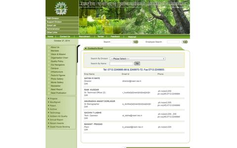 Screenshot of Contact Page neeri.res.in - :: National Environmental Engineering Research Institute :: - captured Oct. 27, 2014