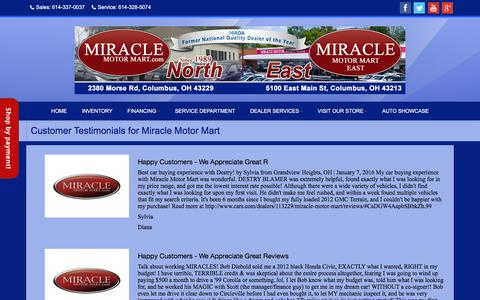 Screenshot of Testimonials Page miraclemotormart.com - Testimonials at Miracle Motor Mart, Columbus, OH, 614-337-0037 - captured Sept. 20, 2018
