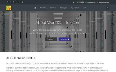 Screenshot of About Page worldcall.net.pk - About WorldCall Telecom Limited - captured July 6, 2017