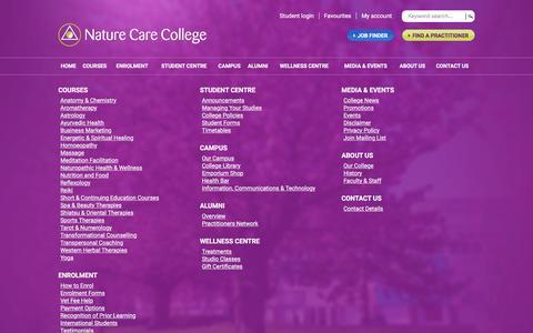 Screenshot of Site Map Page naturecare.com.au - Site Map - Nature Care College - Sydney - captured Jan. 15, 2016