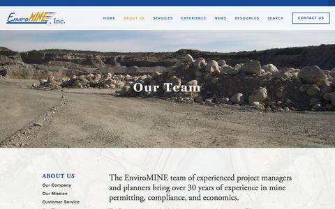 Screenshot of Team Page enviromineinc.com - Our Team — EnviroMINE, Inc. - captured July 14, 2016
