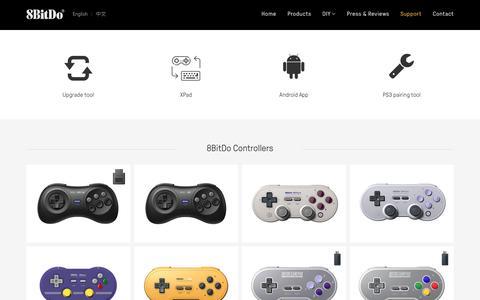 Screenshot of Support Page 8bitdo.com - Support 8BitDo - captured May 19, 2019