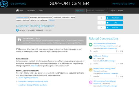 Screenshot of Support Page spscommerce.com - Customer Training Resources | SPS Commerce Customer Community - captured Oct. 24, 2018