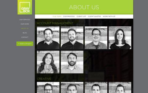 Screenshot of Team Page grayboxpdx.com - Our Portland Web Design and Digital Marketing Team  | GRAYBOX - captured Jan. 24, 2016