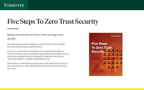 Screenshot of Landing Page forrester.com - Five Steps To Zero Trust Security · Forrester - captured July 29, 2019