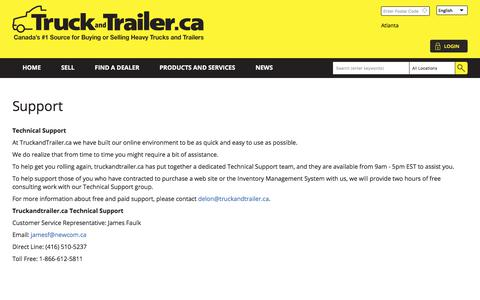 Screenshot of Support Page truckandtrailer.ca - Support | Truck and Trailer - captured Nov. 14, 2017