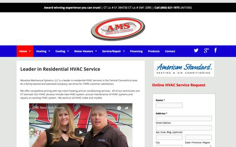 Screenshot of Home Page absolutemech.com - Absolute Mechanical Systems LLC – #1 HVAC Company in Connecticut - captured Oct. 2, 2018