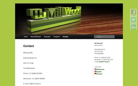 Screenshot of Contact Page mill-wood.nl - Contact detailsMill Wood - captured Oct. 27, 2014