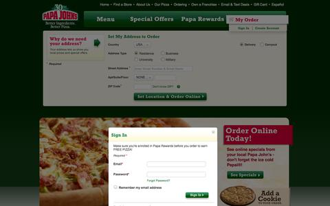 Screenshot of Login Page papajohns.com - Papa John's Pizza Delivery and Specials ‐ Order Pizza Online for Delivery or Pickup. - captured Sept. 18, 2014