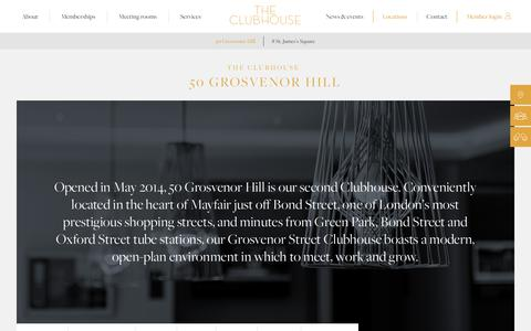 Screenshot of Locations Page theclubhouselondon.com - 50 Grosvenor Hill  |  The Clubhouse London - captured Aug. 14, 2016
