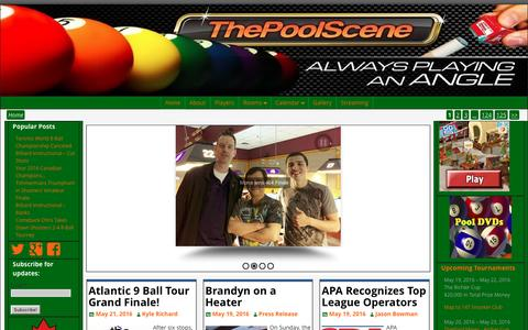 Screenshot of Home Page thepoolscene.com - The Pool Scene - Always Playing an Angle - captured May 21, 2016
