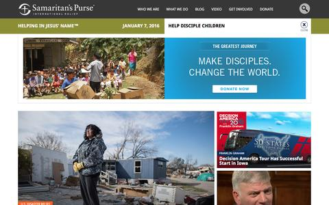 Screenshot of Home Page samaritanspurse.org - Samaritan's Purse — International Relief - captured Jan. 7, 2016