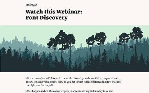 Screenshot of Landing Page monotype.com - Webinar: Font Discovery - captured Feb. 5, 2017