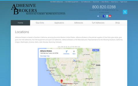 Screenshot of Locations Page adhesivebrokers.com - Locations - Adhesive Brokers - captured Dec. 23, 2015