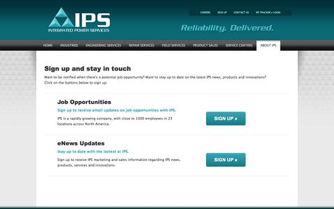 Screenshot of Signup Page ips.us - Sign-up and stay in touch with IPS - Integrated Power Services - captured Oct. 6, 2014