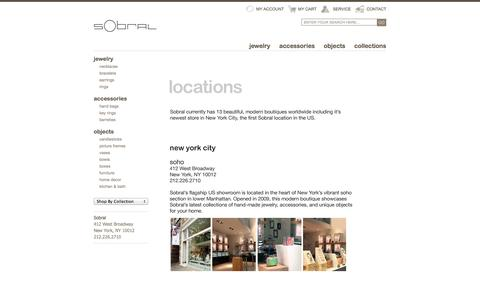 Screenshot of Locations Page sobralusa.com - SOBRAL - unique resin jewelry & gifts, hand crafted in Brazil - captured Sept. 30, 2014