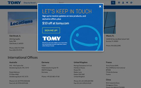 Screenshot of Locations Page tomy.com - Locations | TOMY - captured Feb. 11, 2018