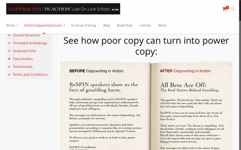 Screenshot of Case Studies Page copywritinginaction.com.au - Before and After Copywriting in Action   Case Studies - captured Oct. 9, 2018