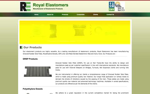 Screenshot of Products Page royalelastomer.com - Products - Polyethylene Dowels, GFN Liner, Metal Bonded Elastomeric Pad - captured Oct. 6, 2014