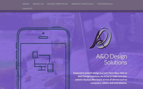 Screenshot of Home Page About Page Testimonials Page aodesignsolutions.com - A&O DESIGN SOLUTIONS - captured May 26, 2017