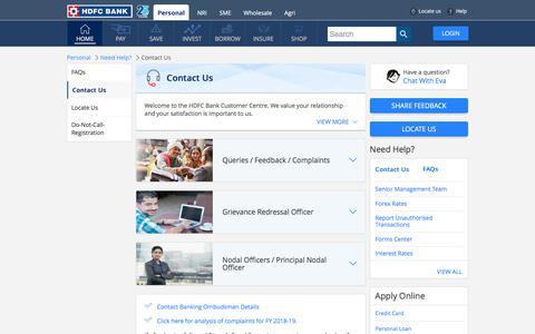 Screenshot of Contact Page hdfcbank.com - HDFC Bank Contact Details - Customer Care, Queries, Feedback - captured Feb. 22, 2020