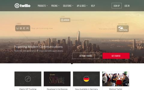 Screenshot of Home Page twilio.com - Twilio - APIs for Text Messaging, VoIP & Voice in the Cloud - captured Jan. 15, 2015