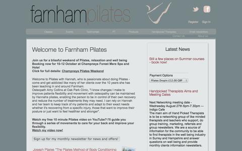 Screenshot of Home Page farnhampilates.com - Welcome to Farnham Pilates  | Farnham Pilates - captured Sept. 30, 2014