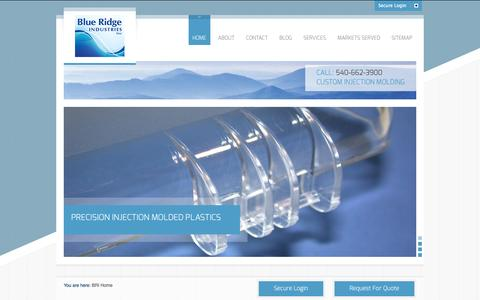 Screenshot of Home Page blueridgeind.com - Blue Ridge Industries, Inc | Custom Injection Molding - captured Oct. 5, 2014