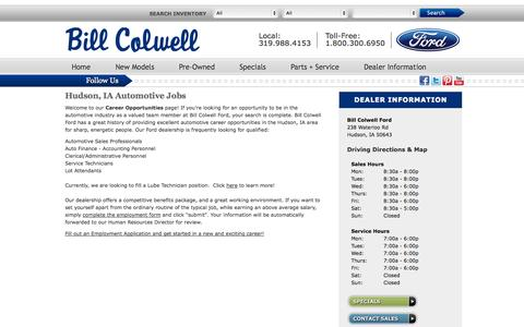 Screenshot of Jobs Page billcolwellford.com - Hudson, IA Automotive Jobs | Automotive Dealership Career Placement - Bill Colwell Ford Hudson, IA - captured Oct. 29, 2014