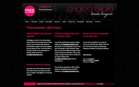 Screenshot of Press Page andreabillard.com - Press enquiries. (Start here). | Andrea Billard | Haute Lingerie - captured Oct. 4, 2014