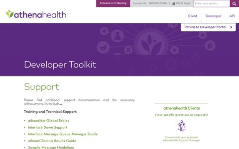 Support | Developer Portal | athenahealth