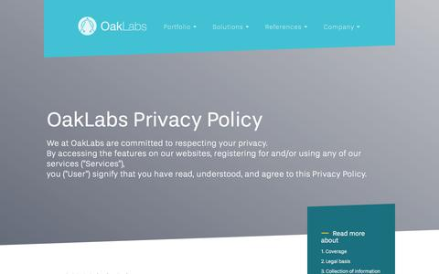 Screenshot of Privacy Page oak-labs.com - Privacy Policy | OakLabs - captured Sept. 20, 2018