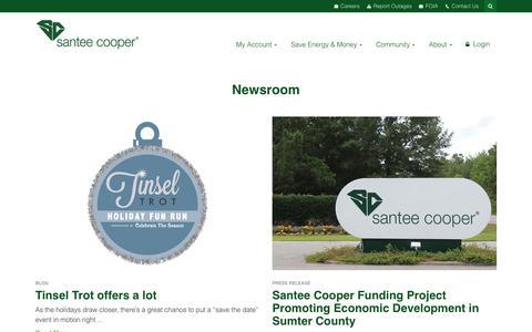 Screenshot of Press Page santeecooper.com - Newsroom - captured Nov. 6, 2018