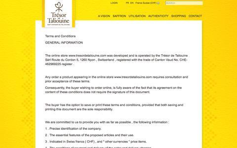 Screenshot of Terms Page tresordetaliouine.com - Contact :: Terms & Conditions - Boutique en ligne - captured Nov. 5, 2014