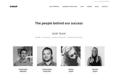 Screenshot of Team Page b-group.dk - B GROUP |   Team - captured July 12, 2017