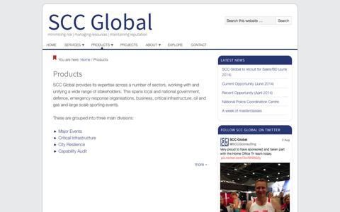 Screenshot of Products Page sccglobal.com - SCC Global Sectors | SCC Global - captured Oct. 3, 2014